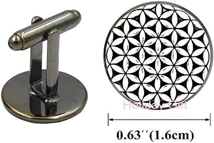 Botewo0lbei Flower of Life Sacred Geometry Mandala Yoga Cufflinks Handmade Spiritually Cuff Links Seed of Life Cuff Links-MT360