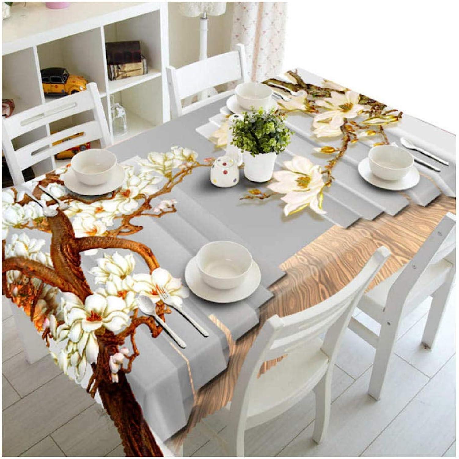 Branche Jaune Motif De Fleurs Polyester Coton 3D Nappe Belle Dustproof Table à Manger Tissu Décoration De Mariage Couverture De Table140x220cm