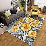 WCCCW Amarillo Flores pequeñas Gris combinación Moderno Minimalista Arte Mullido Dormitorio Transpirable Corredor área de Noche alfombra-60x90cm para el salón fácil de Limpiar Igual Que la Foto