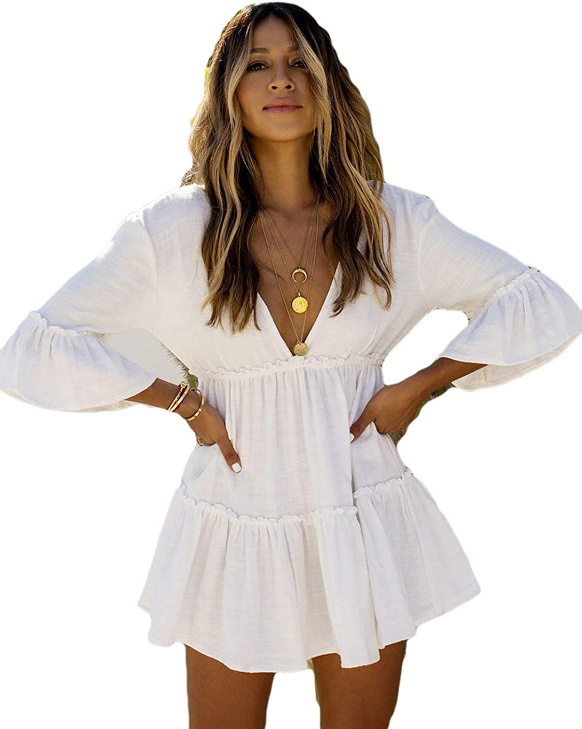 AILUNSNIKA Casual Swimsuit Cover Up for Women Loose Beach Bikini Dress