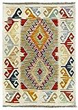 HAMID Alfombra Kilim Afgano - 100% Lana Tejida a Mano - Alfombra étnica de salón, Dormitorio, Comedor (118x87cm)