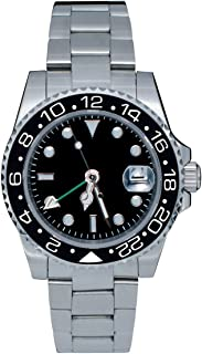 PHYLIDA Mens GMT Silver Stainless Steel Sapphire Glass Black Rotating Bezel Men's Automatic Watch