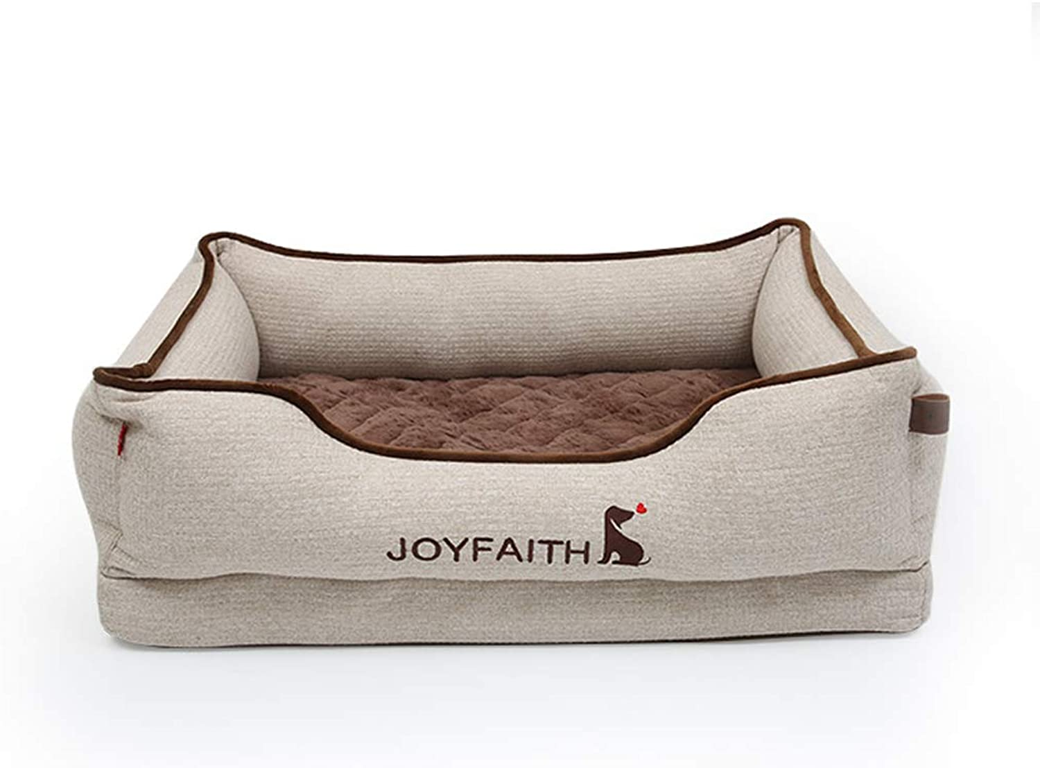 Jlxl Dog Bed, Winter Soft Kennel Small Dog Removable Mattress Pet Teddy Sized For Four Seasons Warm Pillow (color   White, Size   S.70x50x23cm)