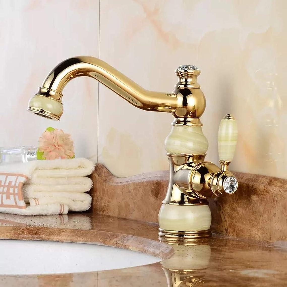 充電外向き弾力性のあるZYL-YL 実用的なヨーロッパのカウンター洗面器の台所の蛇口銅金自然なヒスイ洗面器の蛇口の銅ホット蛇口美しいです