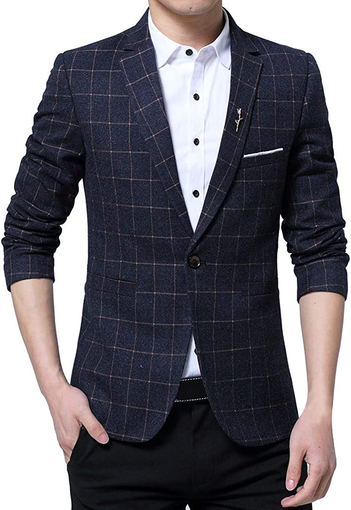 Qinnyo Blazer for Men's Jacket One Button Coat Suit for Self-Cultivation Business Tops Fashion Sweatshirt