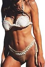 URIBAKY Conchas De Mujer Imprimir Busto Bajo Traje De BañO Tops Bikini Traje De BañO Acolchado Push Up Traje De BañO Halter Neck Mujeres Bikini Push-Up