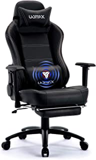 UOMAX Gaming Chair, Black Reclining Massage Gamer Chair for Adults, Video Game Chair with Footrest, Lumbar Support and Headrest. (Black)