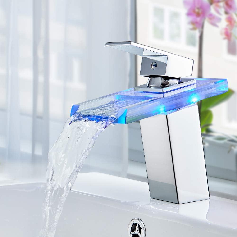 Auralum Grifo de Lavabo Baño Cascada con LED Grifo Baño de Latón y Vidrio para Lavabo Mezclador de Lavabo Monomando Cromado