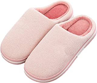 Men's Winter Cotton Slippers, Non-Slip Plush Warm Cotton Indoor Shoes with TPR Sole Can Be Used As A Dad,Pink,38/39