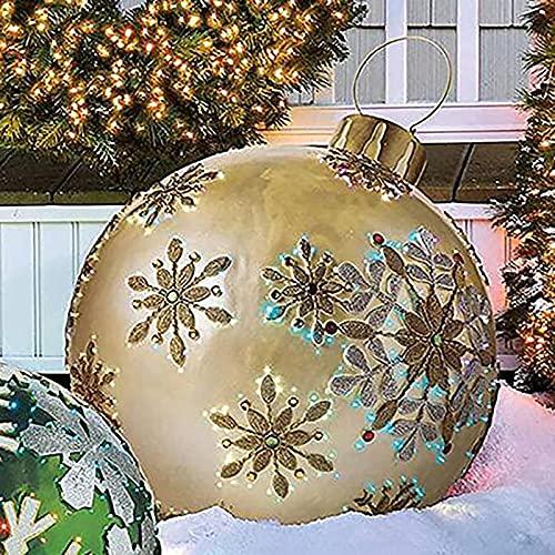 Décorée Gonflable de Noël en Plein Air,DéCorations d'Arbre de Noël de Boule Gonflable GéAnte de Noël, Décorations ExtéRieures Gonflables de NoëL DéCoration de Boules Gonflables de Vacances(#09)