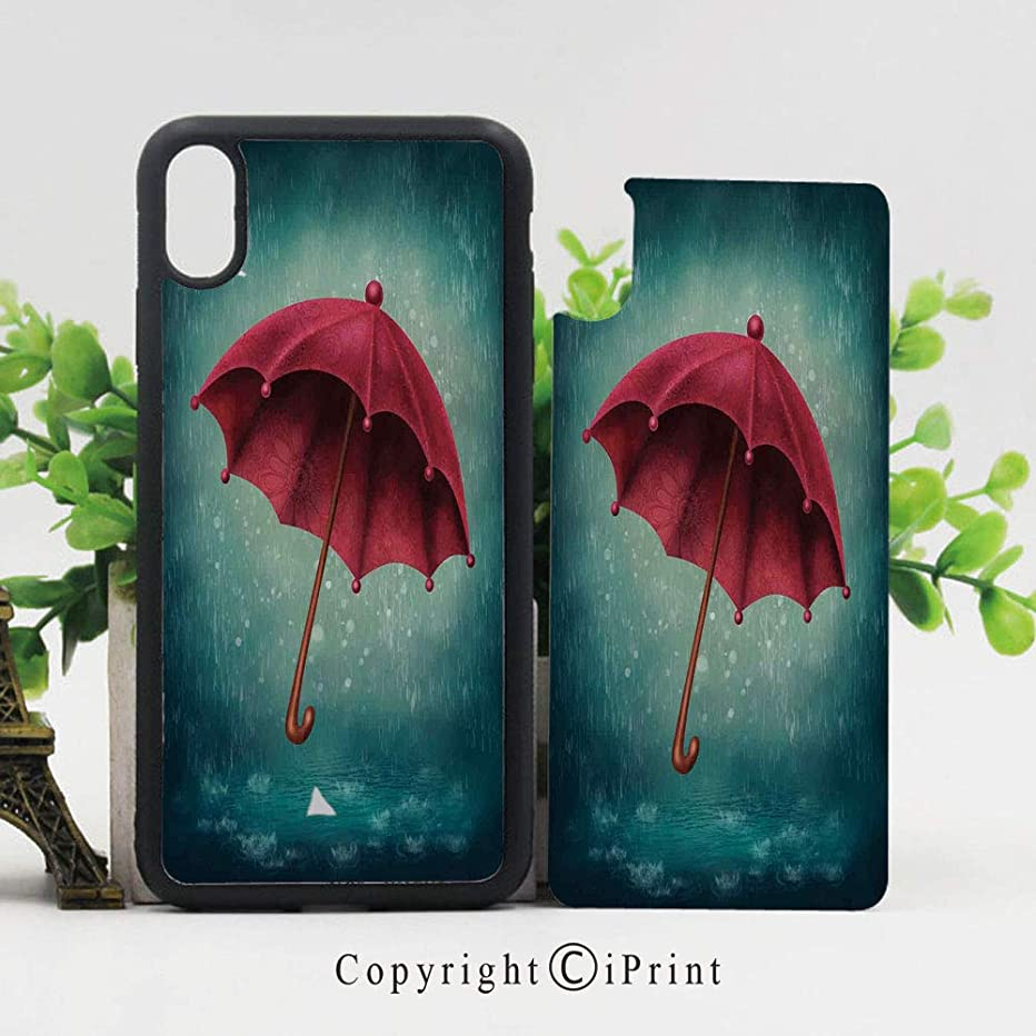 Phone Case Protective Design Authentic Retro Wooden Handle Under Fall Rainfall Torrent Urban Accessory Image Durable Hard PC Back Phone Cover Compatible for iPhone X,Teal