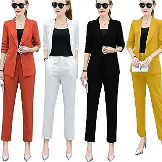 AngelSpace Women Bodysuit OL V Neck Short-Sleeve Simple Blazer Jacket Skirt Suit