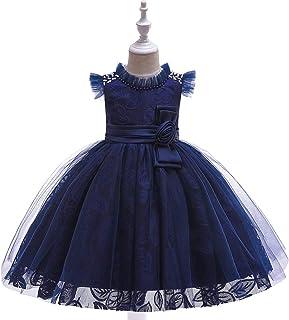 YGCLOTHES Vestido de Las Niñas,Muchacha Bowknot Sin Mangas Floral tutú de Malla de Boda Vestido de Fiesta Princesa Encaje ...