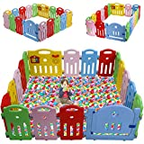 Baby Playpen for Babies Baby Play Playards Infants Toddler Safety Kids Play Pens Indoor Baby Fence with Activity Board (Brilliant, 18Panels)