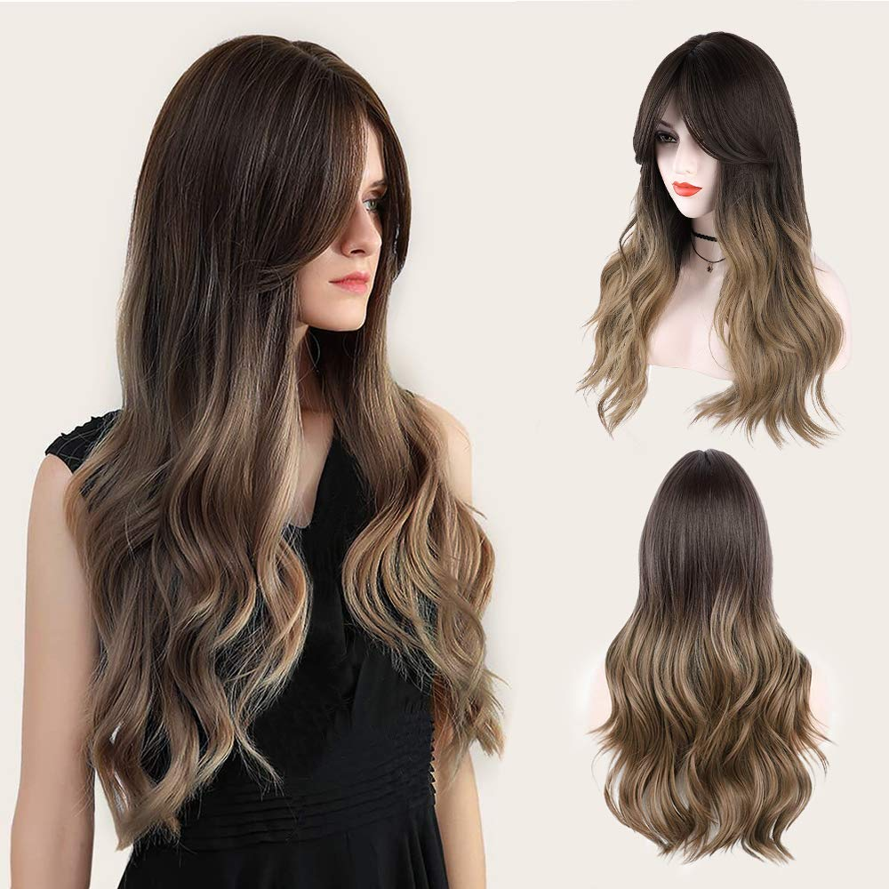MORICA Blonde Wig for Women Dark Roots Ombre Long Wavy Hair Wig Middle Part Synthetic Wigs Daily Party Daily Wear 26 Inch(Color:R6//30//27//60)