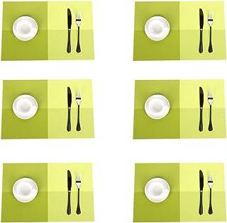 Jaritto Set de Table Lot de 6 Napperons Tressés en PVC Lavables Antidérapant Resistant à la Chaleur Décor Restaurant Salle...