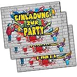 Einladungskarten Graffiti Einladung zum Geburtstag Rap Hip-Hop Kindergeburtstag Motto-Party Jump-Party Musik Teenager Cool Mädchen Jungen Laser-Tag Geburtstagseinladung Tanz Game on Tablet