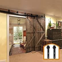 ZEKOO Rustic 8 FT Bypass Door Hardware Sliding Barn Door Hardware Steel Track for Double Wood Doors Kit Low Ceiling