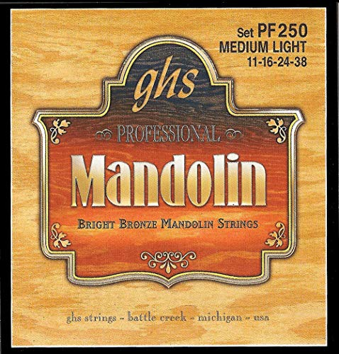 GHS Strings PF250 Bright Bronze Mandolin Strings, Medium Light (.011-.038)