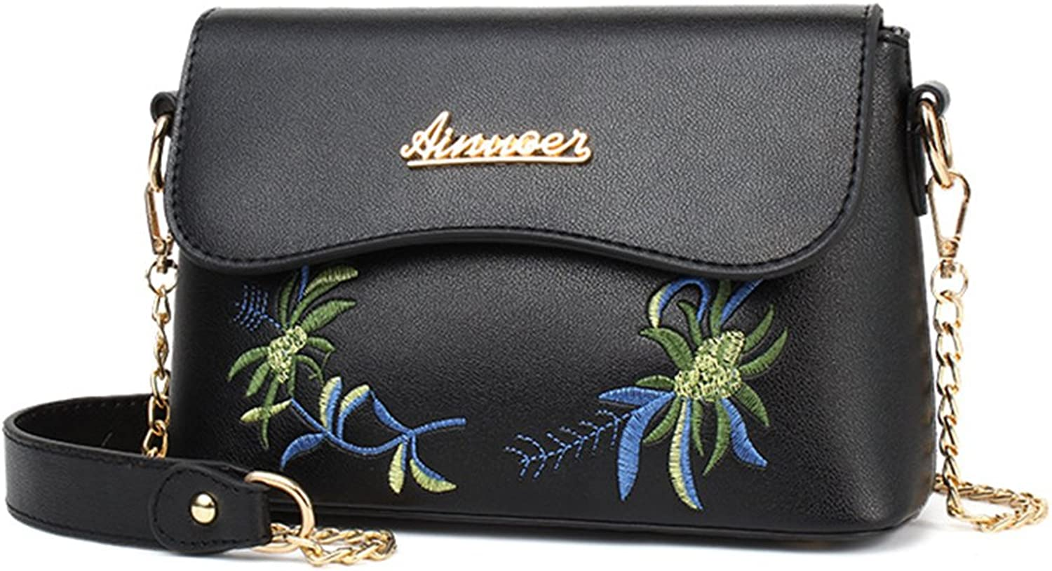 Turelifes Leather Crossbody Bags Small Shoulder Purse Cute Flower Embroidered Zipper Bag Chain Strap Wallet for Women