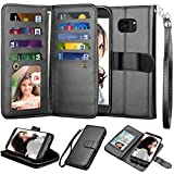 Njjex for Galaxy S7 Wallet Case, for Samsung Galaxy S7 Case, Luxury PU Leather [9 Card Slots] ID Credit Folio Flip Cover [Detachable] [Kickstand] Magnetic Closure Phone Case & Wrist Strap [Black]