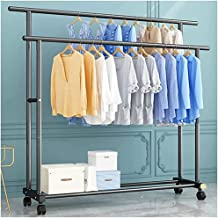Double Clothes Rails for Bedroom Heavy Duty, Anti-Rust Clothes Rack with Casters And Bottom Storage Shelf, 75Kg Load Capac...
