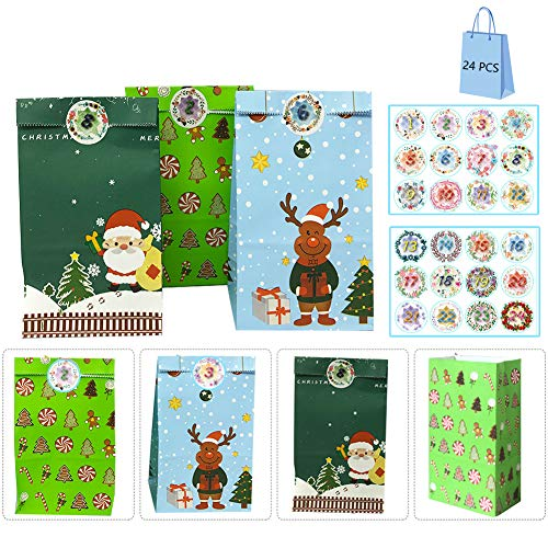 JIASHA Adventskalender Zum Befüllen,24 Papier Candy Tüten,Bunt Geschenktüten Shower Birthday Party Dekorationen Supplies