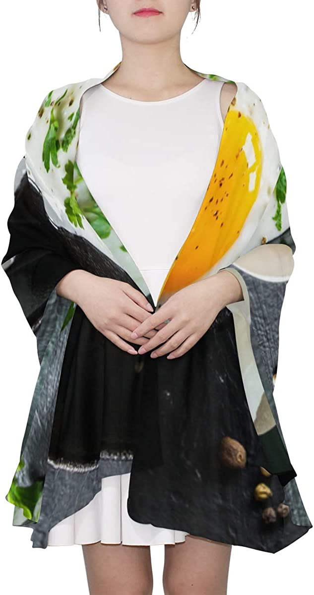 Frying Eggs Breakfast With Parsley Unique Fashion Scarf For Women Lightweight Fashion Fall Winter Print Scarves Shawl Wraps Gifts For Early Spring