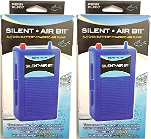 Penn-Plax (2 Pack) Silent Air B11 Battery Operated Aquarium Air Pump for Power Outage Automatic Turn On Keeps Fish Safe Up to 29 Gallons