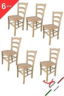 Tommychairs - Set de 6 sillas Venezia 38 de Cocina, Comedor, Bar y Restaurante, de Estilo Clasico, con solida Estructura en Madera de Haya lijada, no tratada, 100% Natural y Asiento en Madera