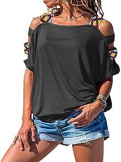 Camiseta sexy de manga corta con hombros descubiertos, color sólido, para mujer