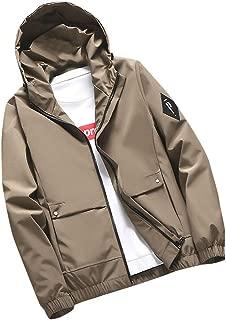 Rosatro Mens Coats Casual Windbreaker Outerwear Lightweight Pure Color Hoodie Zipper Plus Size Jacket