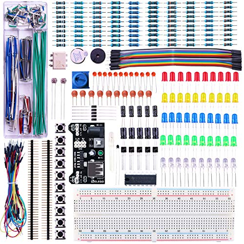ELEGOO Upgraded Electronics Fun Kit w/Power Supply Module, Jumper Wire, Precision Potentiometer, 830 tie-points Breadboard for Arduino UNO R3, MEGA 2560, Raspberry Pi, STM32, Datesheet Available thumbnail