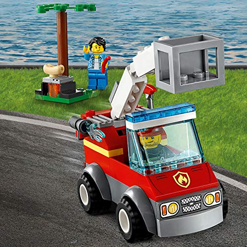 LEGO 60212 4+ City Fire Barbecue Burn Out with Fire Engine Truck Toy, Fireman Minifigure, Hot Dog and Grill Accessories, Fire Response Vehicles Building Set
