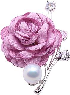 JYX - Spilla a Forma di Rosa, 12 mm, con Perla d'Acqua Dolce Bianca