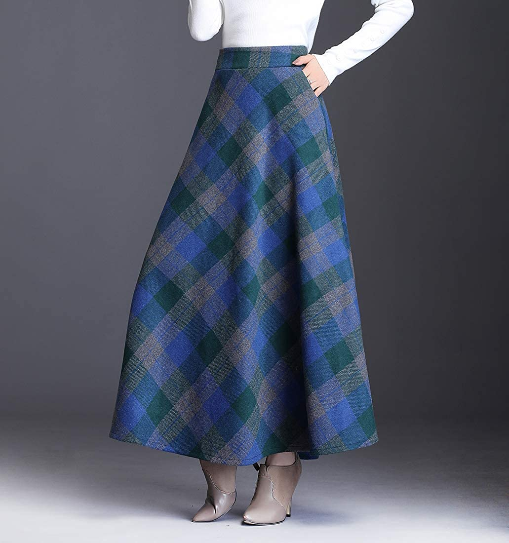 Damen Lang Rock Elegante Wollrock Winterrock Warm Maxirock Elastische Taille Gitter Hohe Taille Pleated A-Linie Midi Casual Party Flared Rock Blaues Gitter