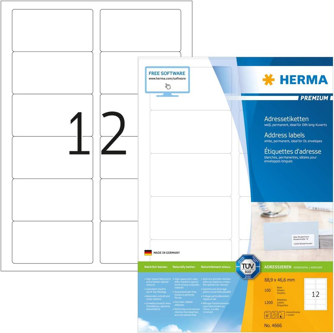 Herma 4666 安値 Address 選択 Labels Premium A4 Mat Paper 88 6mm 9x46 White