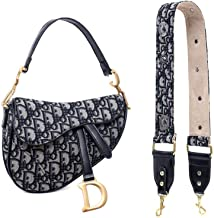 Barabum Retro Classic Trendy D-shape Embroidery Saddle Clutch Shoulder Crossbody Bag with Wide Shoulder Strap for Women