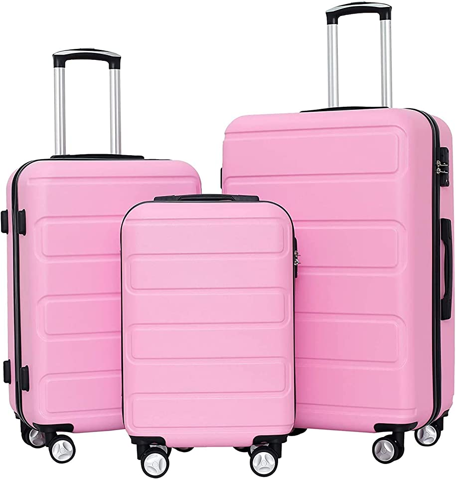 Hardside Luggage Sets with TSA Lock Lightweight Suitcase With Spinner Double Wheels, Pink, 3-piece Set (20/24/28)
