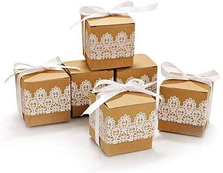 Kitchen-dream papel kraft caja de regalo, Cajas de regalo de caramelo vintage de encaje de 80 piezas, cajas elegantes con cinta de encaje de lazo para la fiesta de bodas de Navidad (cuadrado)