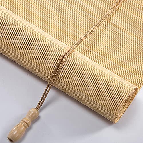 KDDEON Natural Rollo Bambú Ventanas,Patio Terraza Privacidad Transpirable Persiana de Bambú,Ancho 40-160cm,Persianas Enrollables Romana con Elevador y Clip de Seguridad (W145xH250cm/57x99)