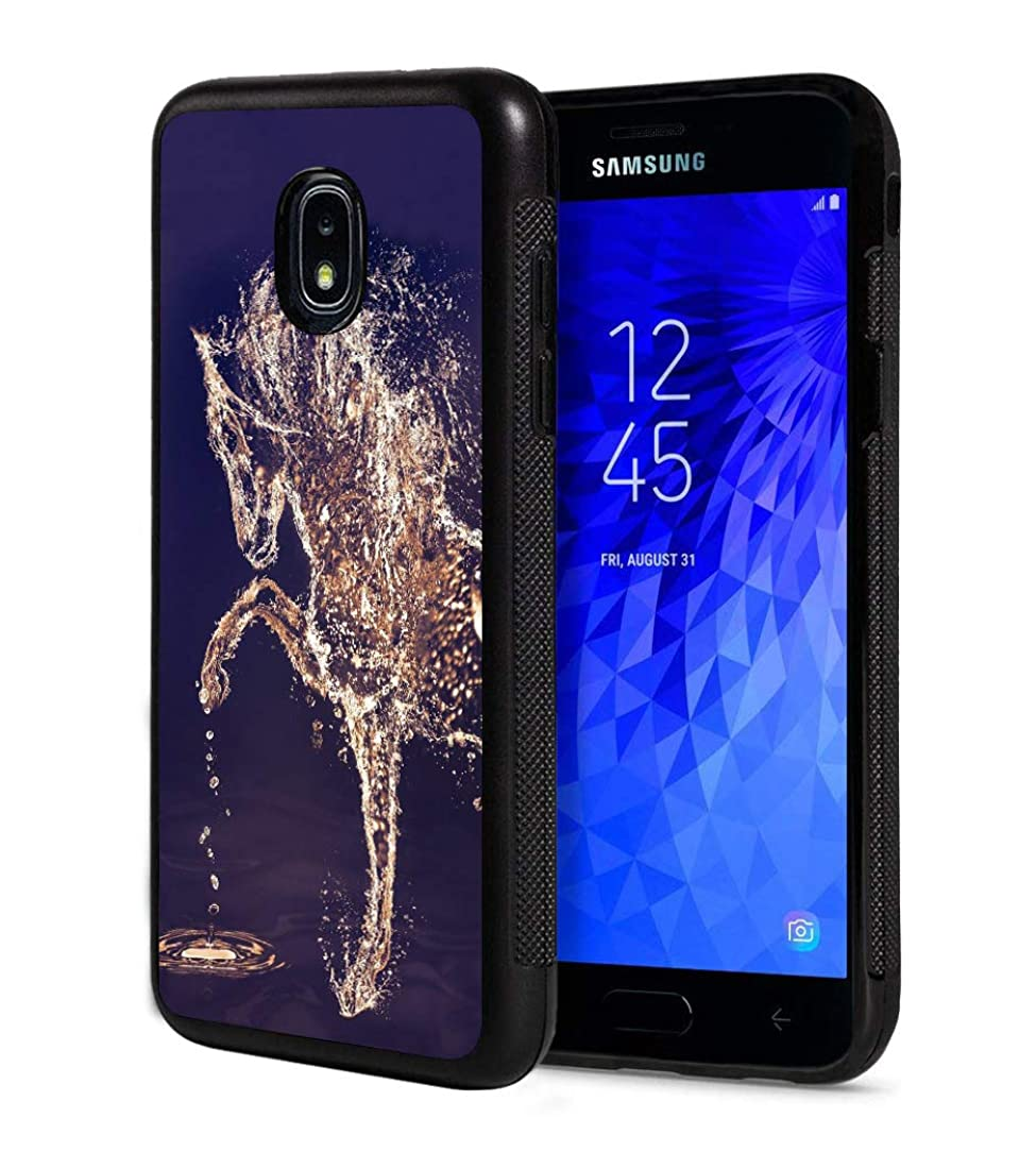Galaxy J3 2018/Amp Prime 3/J3 Achieve/J3 Star Case,Horses Made from Water Design Slim Anti-Scratch Rubber Protective Cover for Samsung Galaxy J3 (2018)