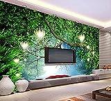 Murales de pared con luces de árboles forestales dibujados a mano Pared Pintado Papel tapiz 3D Decoración dormitorio Fotomural de estar sala sofá mural-250cm×170cm