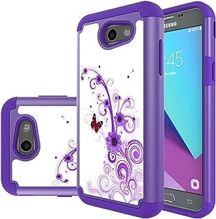 Samsung Galaxy J3 Mission / J3 Eclipse / J3 Emerge / J3 Prime / J3 Luna Pro / Sol 2 / Amp Prime 2 / Express Prime 2 Case, MicroP Hybrid Dual Layer Silicone Phone Case for J3 2017(Purple Flower)