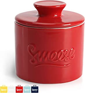 Sweese 3103 Porcelain Butter Keeper Crock - French Butter Dish - No More Hard Butter - Perfect Spreadable Consistency, Red