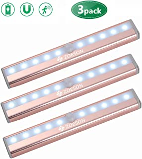 Motion Sensor Led Light, Zoeson Wireless 10 LED Closet Lights, Rechargeable Battery, Light Induction Magnetic Security Nightlight for Cabinet, Wardrobe, Kitchen, Bedroom (3 Pack)