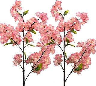 Aisamco 4 Pack Artificial Flor de Cerezo Ramas Flores Seda Melocotón Arreglos Florales 39 Pulgadas en Alto para la Boda Casa Decoración Floral