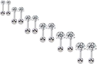 16g Ear Cartilage Helix Surgical Stainless Steel Cubic Zirconia Studs Cartilage Earrings With Screw On Backs Ear Helix Tragus Auricle Piercing Jewelry Set 3mm-8mm
