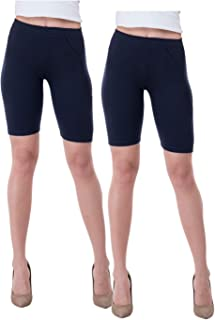 IndiWeaves Women's Cotton Cycling Shorts (Csw01-02-iw_Navy Blue_40) Pack of 2