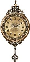 JFCUICAN Cloc Pared Tallado de los números Romanos del Reloj de Pared con péndulo de Bronce Salón Dormitorio Porche Retro Ornamentos Decorativos 32 * 64cm